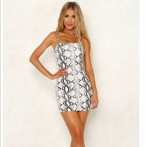 white snake skin mini dress